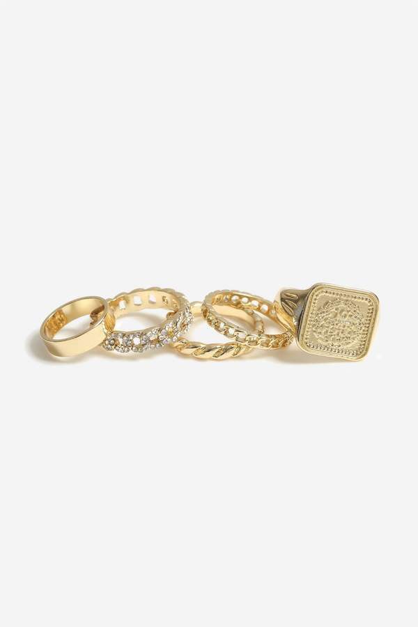 **5 Pack Textured And Engraved Rings