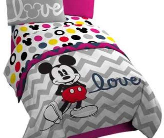 At Walmart Com  C B Mickey Standard Disney Mickey Chevron Dots  Twin Sheet Set