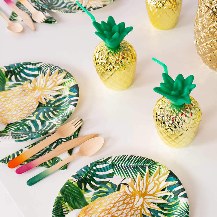 Bubblegum Balloons Tropical Fiesta Gold Pineapple Party Cups