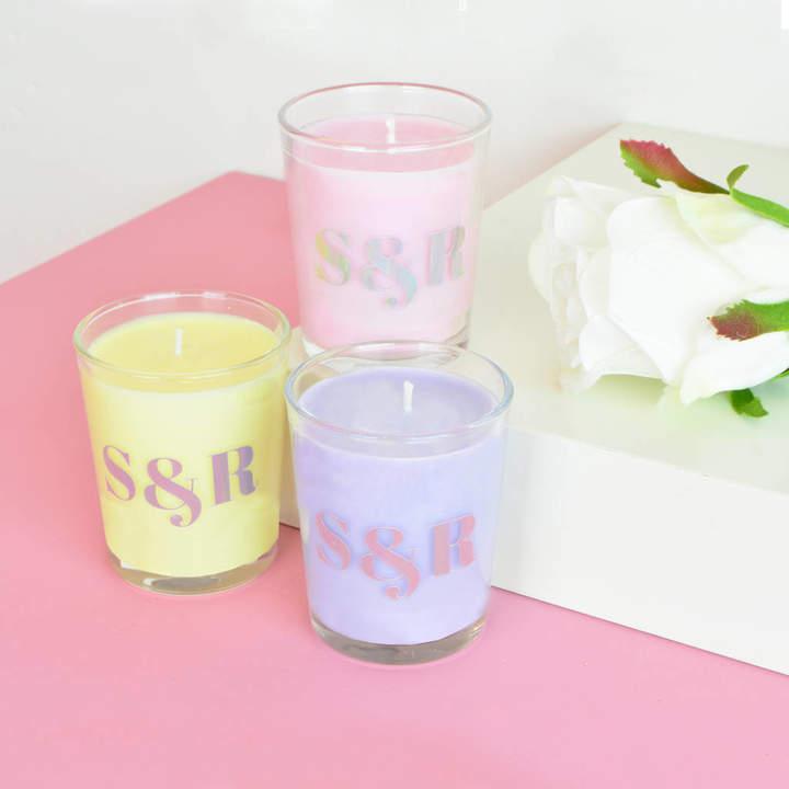 Flamingo Candles Personalised Monogram Pastel Wedding Favour Candle
