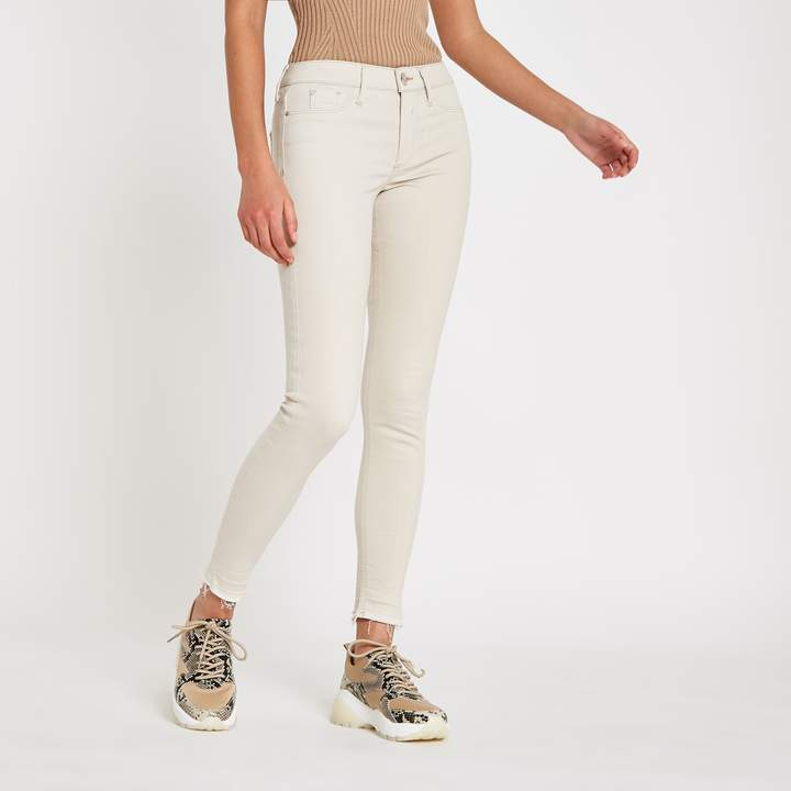 Womens Cream Molly mid rise jeggings