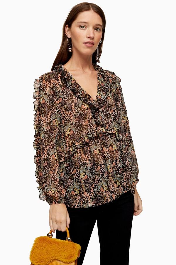 Topshop Womens Autumn Leaf Print Blouse - Multi