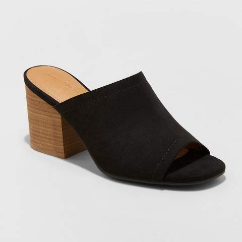 Universal Thread Women's Norelle Microsuede Stacked Heeled Mules