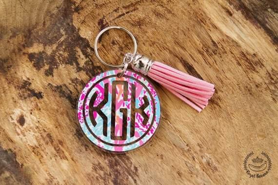 Lilly Pulitzer Keychain, Modern Keychain, Monogram Keychain gift, Bridesmaid Gift, Monogram Key Chain, Personalized Keychain