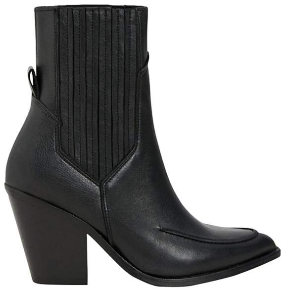 Mango - Black Leather 'Nashville' High Block Heel Ankle Boots