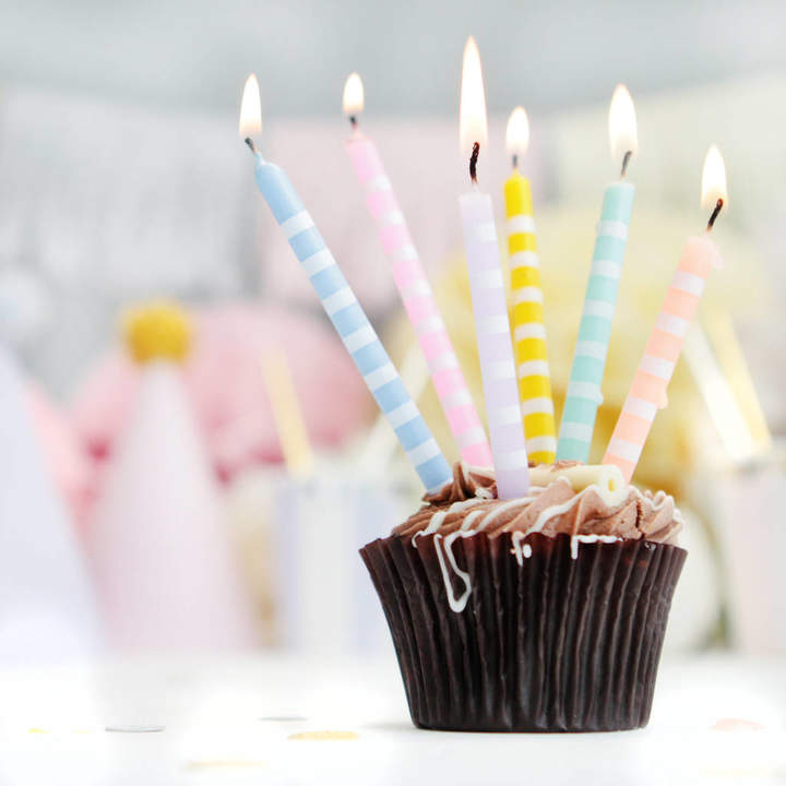 Postbox Party Pastel Tall Striped Party Candles