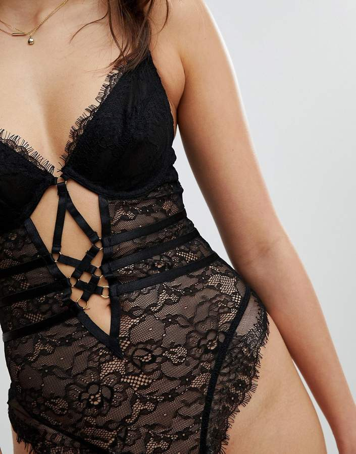 Asos Missy Underwired Lace Body With Cross Detail