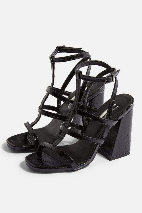 Topshop Womens Riley Cage Crocodile Heels - Black