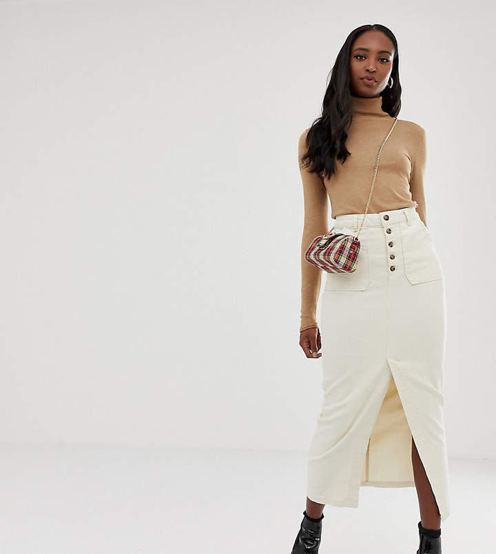 Asos Tall ASOS DESIGN TALL Denim Premium midi skirt with button front in off-white
