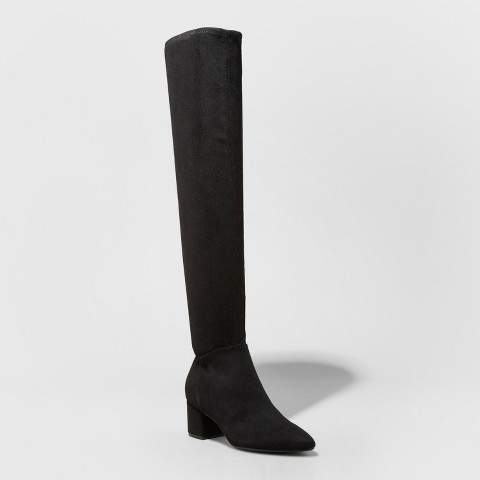 A New Day Women's Naveah Pointed Toe Over The Knee Fashion Boots - A New Day Black