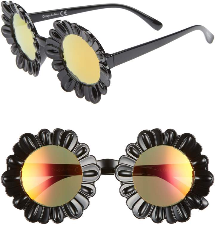 Circus by Sam Edelman 43mm Mirrored Round Flower Frame Sunglasses