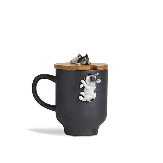 Dog Lover Mug with Funny Bamboo Lid,Handcrafted 3D Cute Sleep French Bulldog Figurine Ceramic Tea Milk Cup for Frenchie Mom Gift-(12oz,350ML) (Black, Sleep French Bulldog)