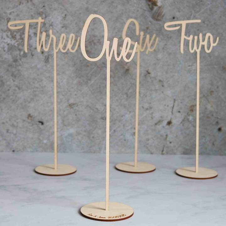 Betsy & Els Script Font Wedding Wooden Table Numbers