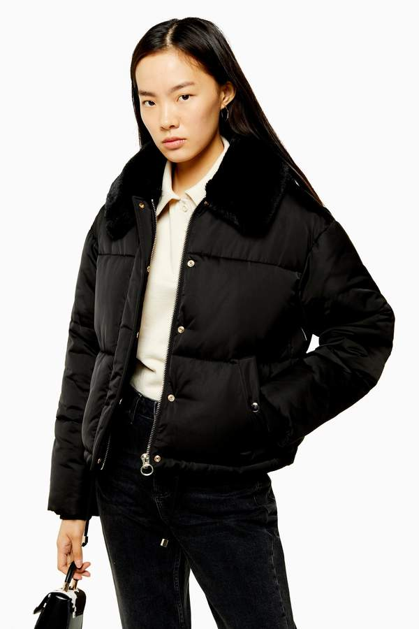 Topshop Womens Black Padded Puffer Jacket With Faux Fur Collar - Black