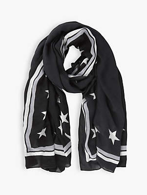 Mint Velvet Star Border Scarf, Black