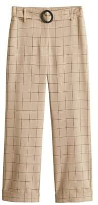 Belt check trousers