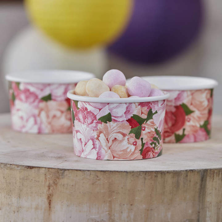 Ginger Ray Boho Floral Design Ice Cream / Treat Tubs