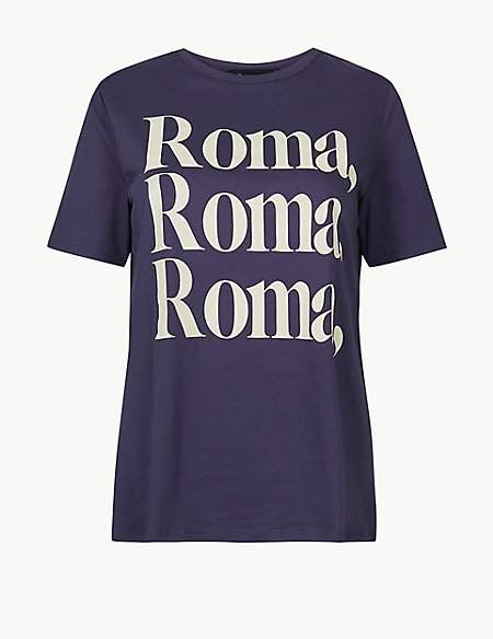 M&S Collection Pure Cotton Roma Straight Fit T-shirt