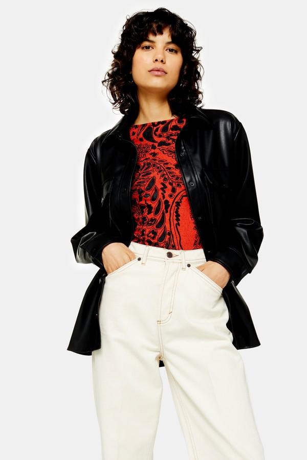 Black Faux Leather Oversized Shirt