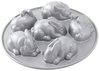 Nordic Ware Easter Bunny Non-Stick Cakelet Tin, Silver