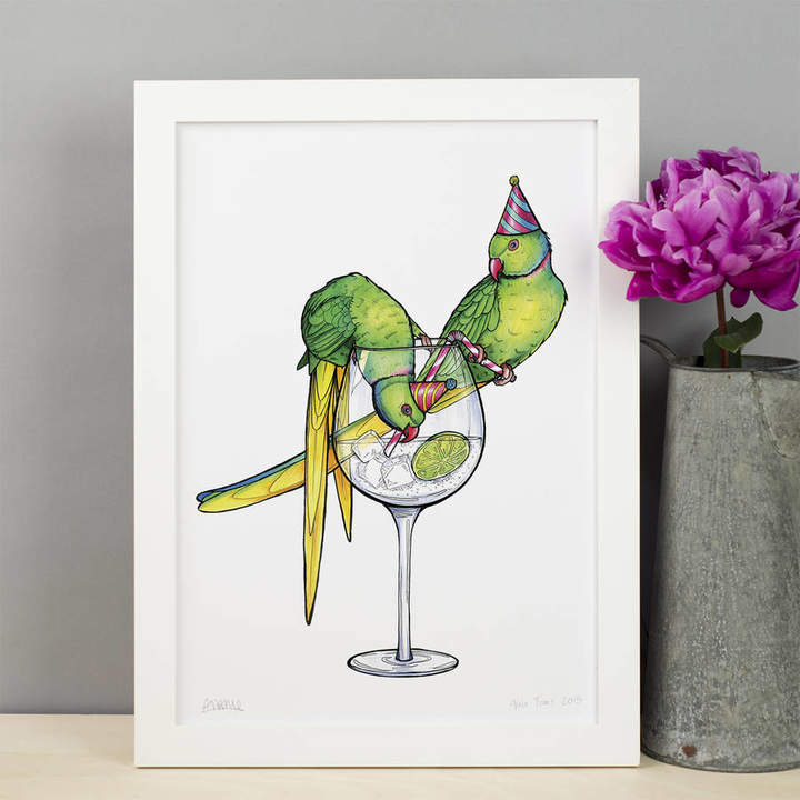 Birds in Hats Parakeets In Party Hats Stealing Gin Art Print