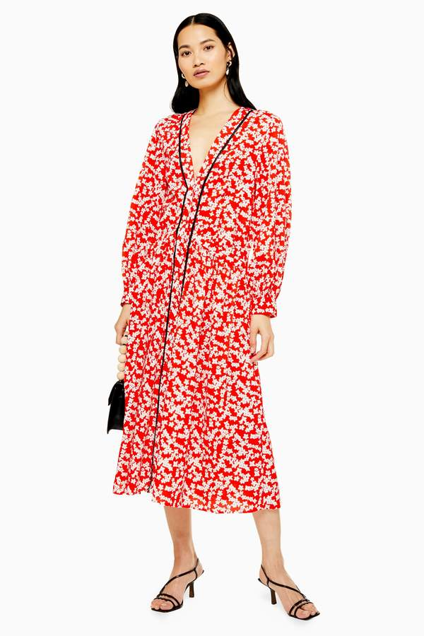 Topshop Womens Red Printed Smock Dress - Red