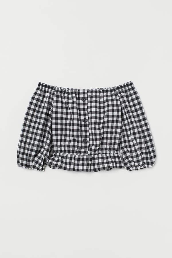 H&M - Off-the-shoulder Blouse - Black