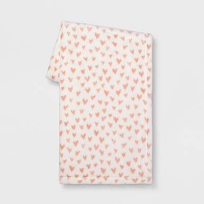 Mini Heart Plush Throw Blanket Cream