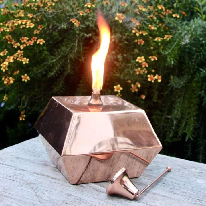London Garden Trading Square Copper Tabletop Oil Lantern
