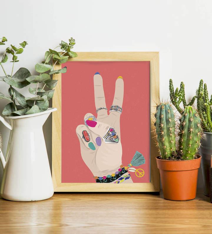 Stephanie B Designs Peace Sign Hippie Boho Print