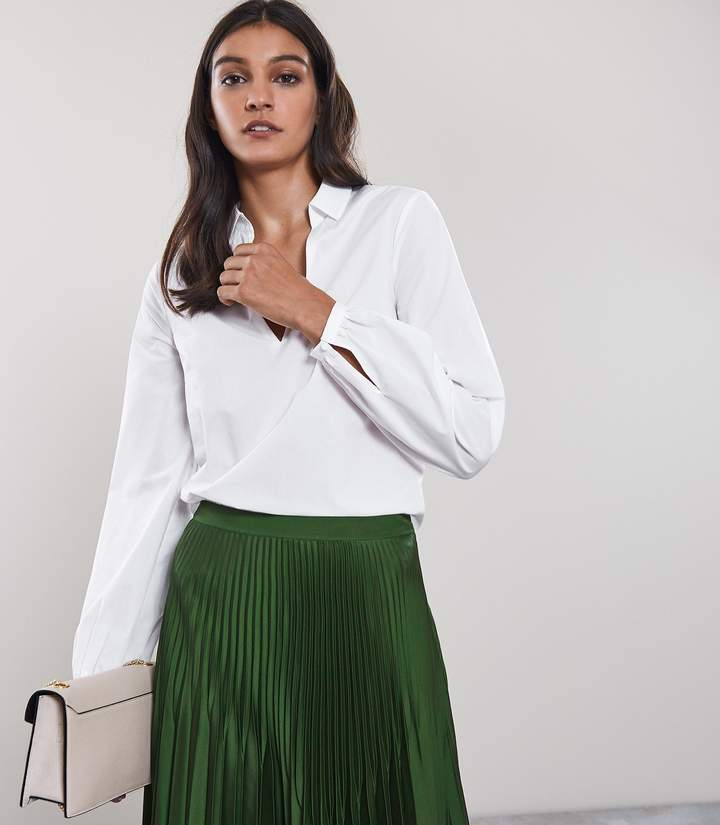 Reiss VERONICA LONG SLEEVED BLOUSE Off White
