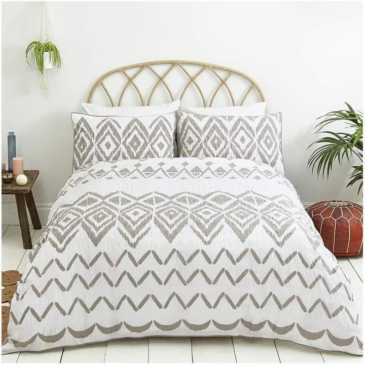 Sainsbury's Home Boho Grey Seersucker Bedding Set