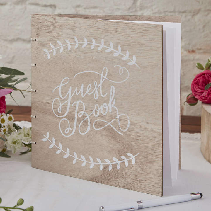 Ginger Ray Boho Wooden Wedding Guest Book