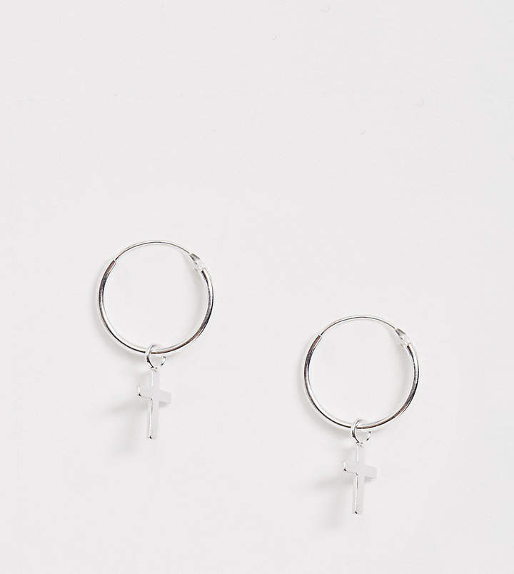 Kingsley Ryan Sterling Silver Hoop Earrings With Cross Drop