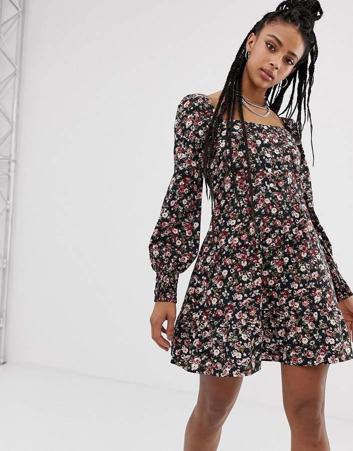 Sacred Hawk square neck boho dress in ditsy floral