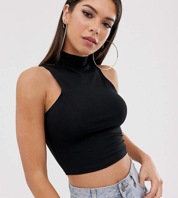 Asos Tall ASOS DESIGN Tall sleeveless crop top with high neck in black