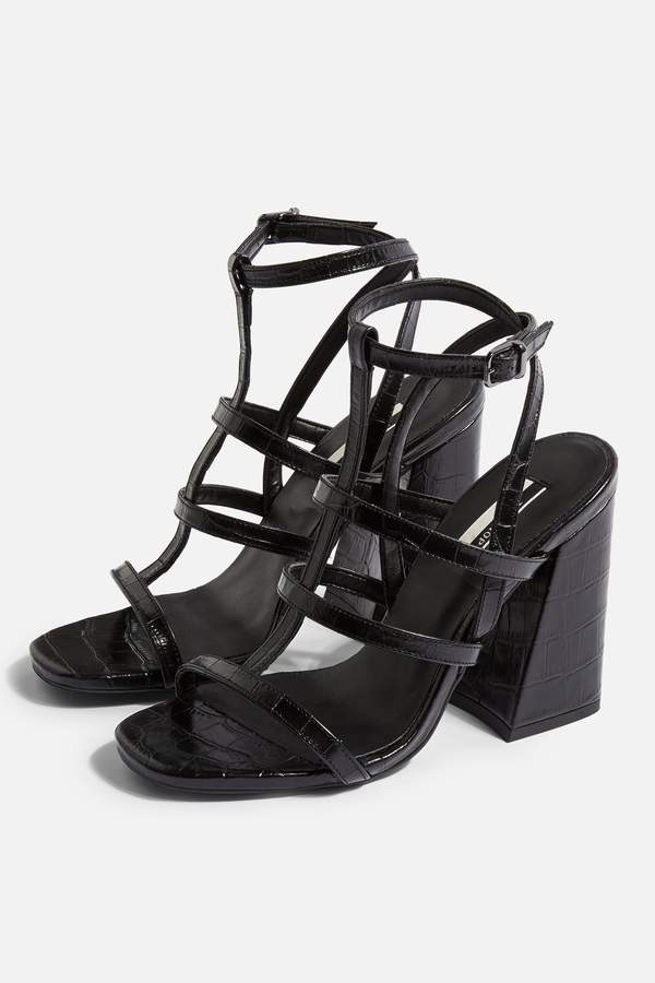 Topshop Womens Riley Cage Crocodile Heels - Black