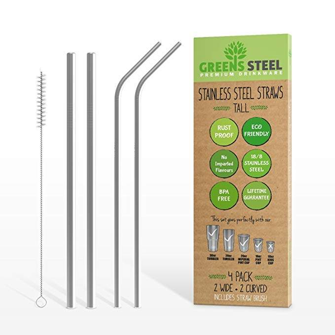 Stainless Steel Straw Set - Reusable Pack of 2 Curved & 2 Wider/Straight Straws - For Smoothies, Coffee & Drinks - Cleaning Brush Included - Eco-Friendly Solution by Greens Steel (4, Tall)