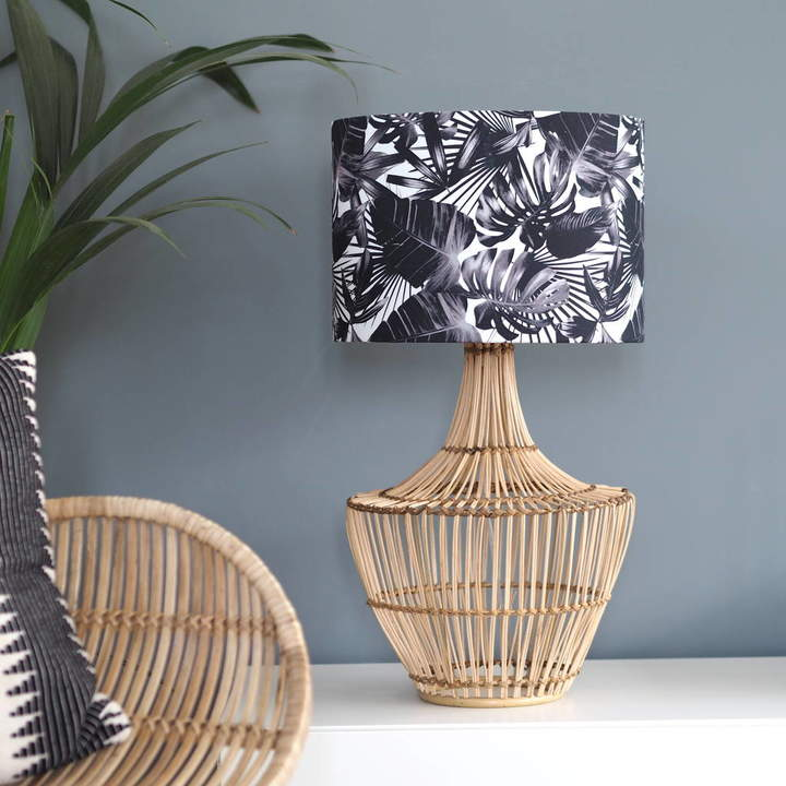 Quirk Black And White Tropical Plant Drum Lampshade