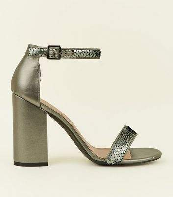 Pewter Metallic Sequin Strap Block Heels