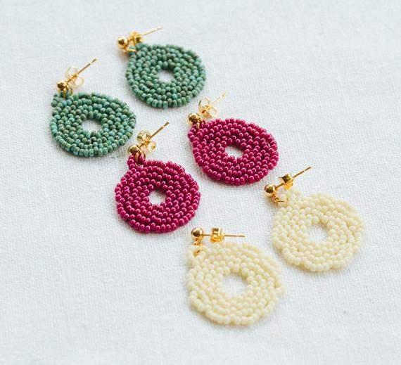 Beaded Hoop Earrings, Woven Earrings, Cream, Turquoise Boho Seed Bead Earrings, Lightweight Hoops, Statement Earrings,