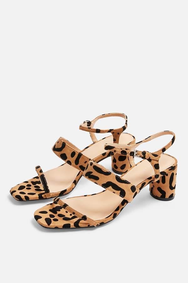 Topshop Womens **Wide Fit Dita Leopard Strap Sandals - True Leopard