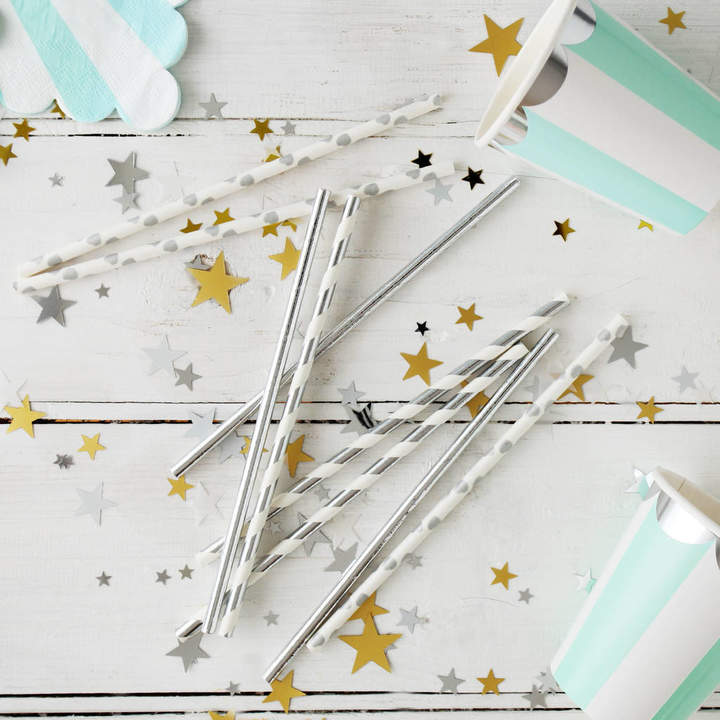 Postbox Party Silver Party Paper Straws