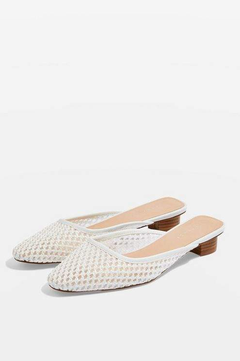 Topshop Womens Amber Square Toe Mules - White