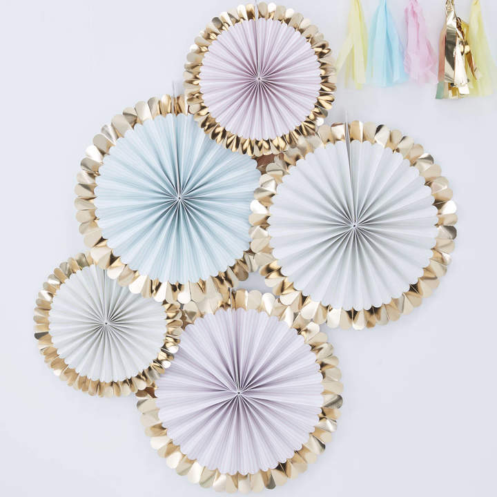 Ginger Ray Pastel Gold Foiled Party Celebration Fan Decorations