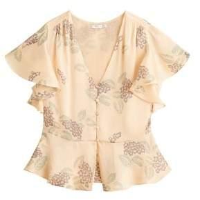 Floral satin blouse