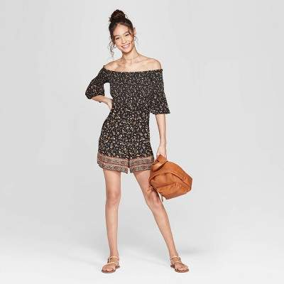 Women's Floral Print 3/4 Sleeve Off the Shoulder Smocked Knit Romper - XhilarationTM Black