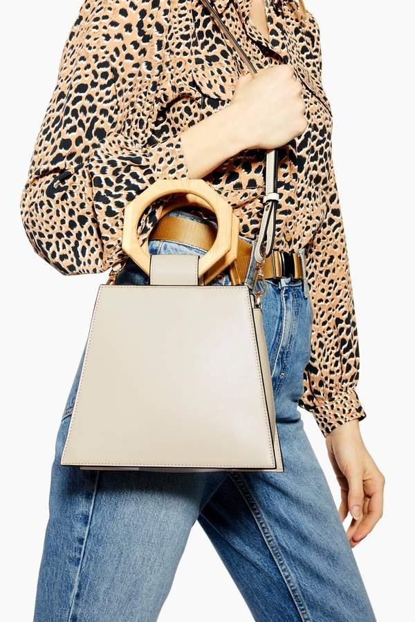 Topshop Womens Harper Hexagon Handle Grab Bag - Cream