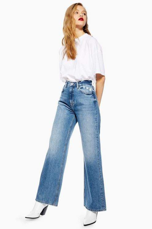 Topshop Womens Mid Stone Slim Wide Leg Jeans