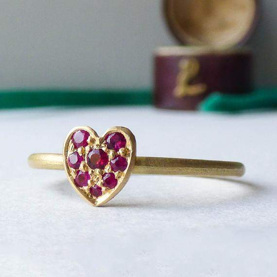 Ethical Ring - Gold ring - Ruby Ring - Ruby Heart Ring - Promise Ring - Women's Ruby Ring - Ruby Rings for Women - Gold Ruby Ring